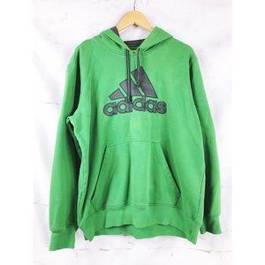 Adidas Men's Green & Grey Hooded Sweatshirt L